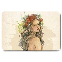 Beauty Of A woman In Watercolor Style Large Doormat