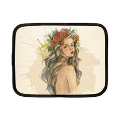 Beauty Of A woman In Watercolor Style Netbook Case (Small)