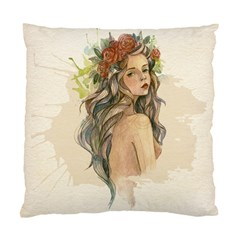 Beauty Of A woman In Watercolor Style Standard Cushion Case (Two Sides)