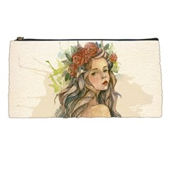 Beauty Of A woman In Watercolor Style Pencil Cases