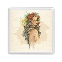Beauty Of A Woman In Watercolor Style Memory Card Reader (square)