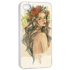 Beauty Of A woman In Watercolor Style Apple iPhone 4/4s Seamless Case (White)