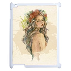 Beauty Of A woman In Watercolor Style Apple iPad 2 Case (White)