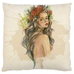 Beauty Of A woman In Watercolor Style Large Cushion Case (One Side)
