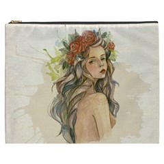 Beauty Of A woman In Watercolor Style Cosmetic Bag (XXXL)
