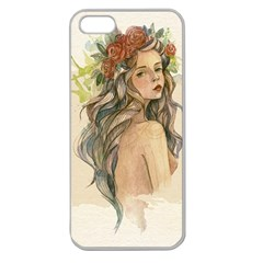 Beauty Of A woman In Watercolor Style Apple Seamless iPhone 5 Case (Clear)