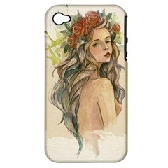 Beauty Of A woman In Watercolor Style Apple iPhone 4/4S Hardshell Case (PC+Silicone)