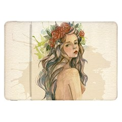 Beauty Of A woman In Watercolor Style Samsung Galaxy Tab 8.9  P7300 Flip Case