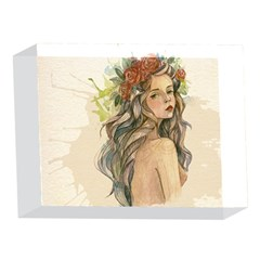 Beauty Of A woman In Watercolor Style 5 x 7  Acrylic Photo Blocks