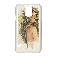 Beauty Of A woman In Watercolor Style Samsung Galaxy S5 Case (White)