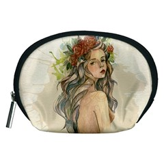 Beauty Of A woman In Watercolor Style Accessory Pouches (Medium)