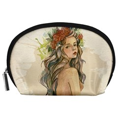 Beauty Of A woman In Watercolor Style Accessory Pouches (Large)