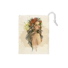 Beauty Of A woman In Watercolor Style Drawstring Pouches (Small)