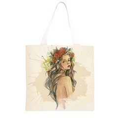 Beauty Of A woman In Watercolor Style Grocery Light Tote Bag