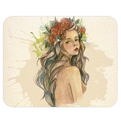 Beauty Of A woman In Watercolor Style Double Sided Flano Blanket (Medium)