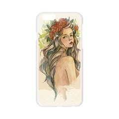 Beauty Of A woman In Watercolor Style Apple Seamless iPhone 6/6S Case (Transparent)