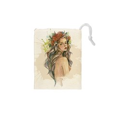 Beauty Of A woman In Watercolor Style Drawstring Pouches (XS)