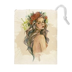 Beauty Of A Woman In Watercolor Style Drawstring Pouches (extra Large)