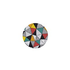 Colorful Geometric Triangles Pattern  1  Mini Buttons