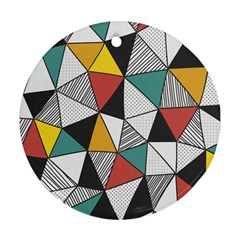 Colorful Geometric Triangles Pattern  Ornament (Round)