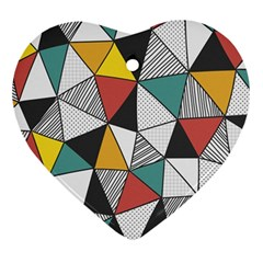 Colorful Geometric Triangles Pattern  Ornament (Heart)