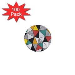 Colorful Geometric Triangles Pattern  1  Mini Buttons (100 pack)