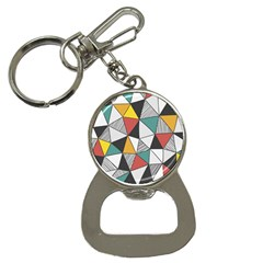Colorful Geometric Triangles Pattern  Bottle Opener Key Chains