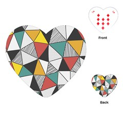 Colorful Geometric Triangles Pattern  Playing Cards (Heart)