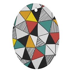 Colorful Geometric Triangles Pattern  Oval Ornament (Two Sides)