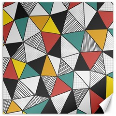 Colorful Geometric Triangles Pattern  Canvas 12  x 12