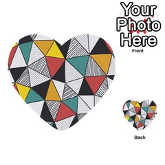 Colorful Geometric Triangles Pattern  Multi-purpose Cards (Heart)