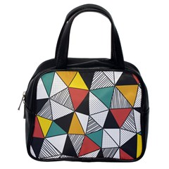 Colorful Geometric Triangles Pattern  Classic Handbags (One Side)
