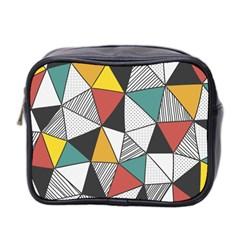 Colorful Geometric Triangles Pattern  Mini Toiletries Bag 2-Side
