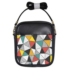 Colorful Geometric Triangles Pattern  Girls Sling Bags