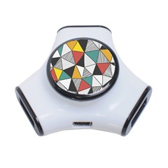 Colorful Geometric Triangles Pattern  3-Port USB Hub