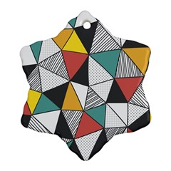 Colorful Geometric Triangles Pattern  Ornament (snowflake)