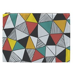 Colorful Geometric Triangles Pattern  Cosmetic Bag (XXL)