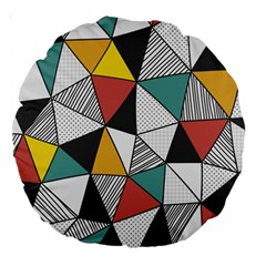 Colorful Geometric Triangles Pattern  Large 18  Premium Round Cushions