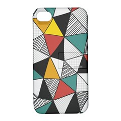 Colorful Geometric Triangles Pattern  Apple iPhone 4/4S Hardshell Case with Stand