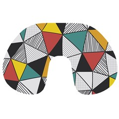 Colorful Geometric Triangles Pattern  Travel Neck Pillows