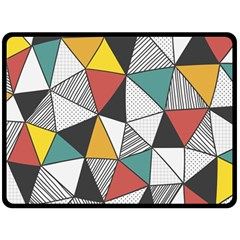 Colorful Geometric Triangles Pattern  Double Sided Fleece Blanket (large)