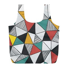 Colorful Geometric Triangles Pattern  Full Print Recycle Bags (L)