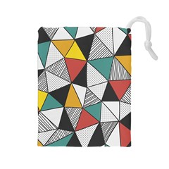 Colorful Geometric Triangles Pattern  Drawstring Pouches (Large)