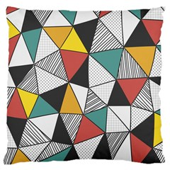 Colorful Geometric Triangles Pattern  Large Flano Cushion Case (One Side)