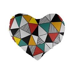 Colorful Geometric Triangles Pattern  Standard 16  Premium Flano Heart Shape Cushions