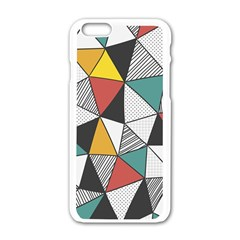 Colorful Geometric Triangles Pattern  Apple iPhone 6/6S White Enamel Case