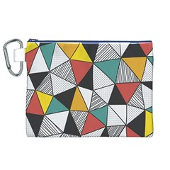 Colorful Geometric Triangles Pattern  Canvas Cosmetic Bag (XL)