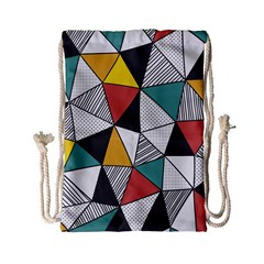 Colorful Geometric Triangles Pattern  Drawstring Bag (small)