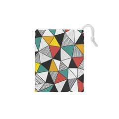 Colorful Geometric Triangles Pattern  Drawstring Pouches (XS)