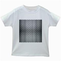 Brick1 Black Marble & Silver Brushed Metal (r) Kids White T Shirt
